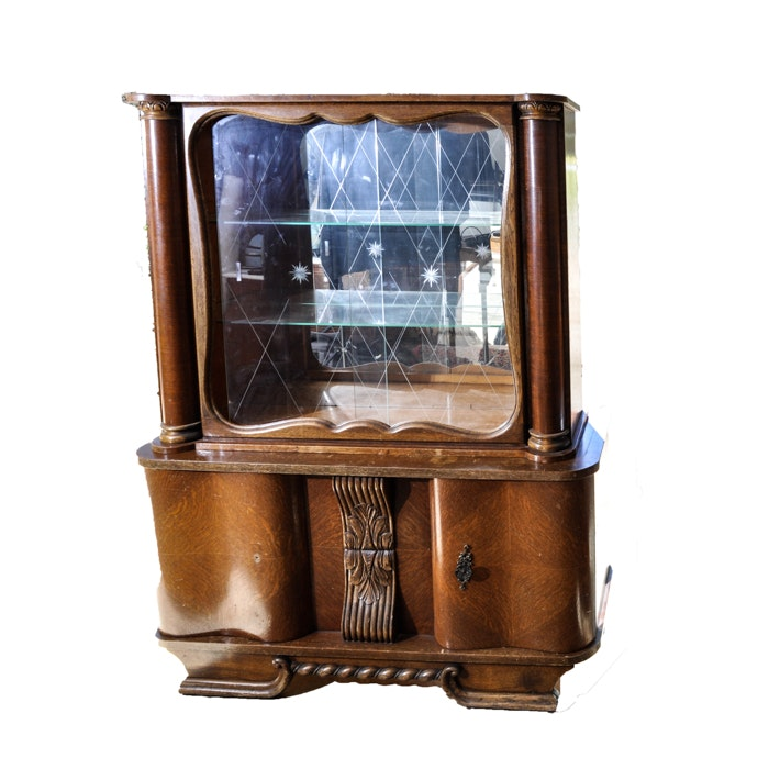 Carved Mahogany Cabinet With Etched Glass Doors