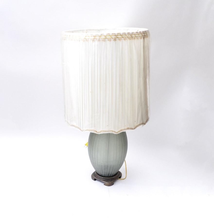 John richard blue glass table lamp and over sized shade ebth john richard blue glass table lamp and over sized shade geotapseo Image collections