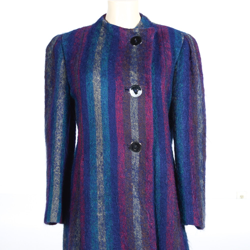 Vintage Trigere Side Buttoned Mohair Coat