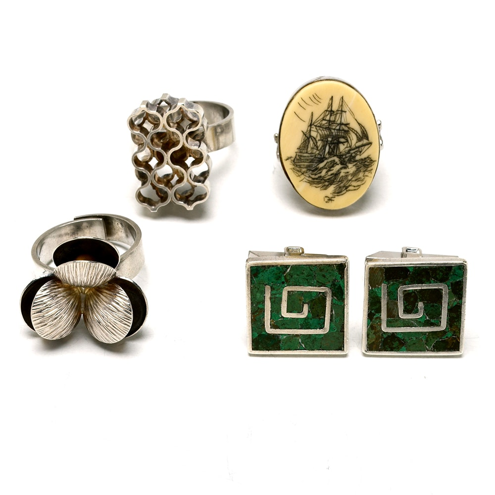 Three Sterling Rings and Cufflinks