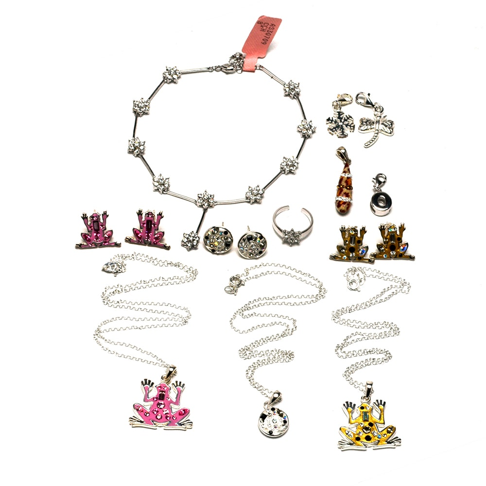 Sterling Enameled and Crystal Jewelry with Charms