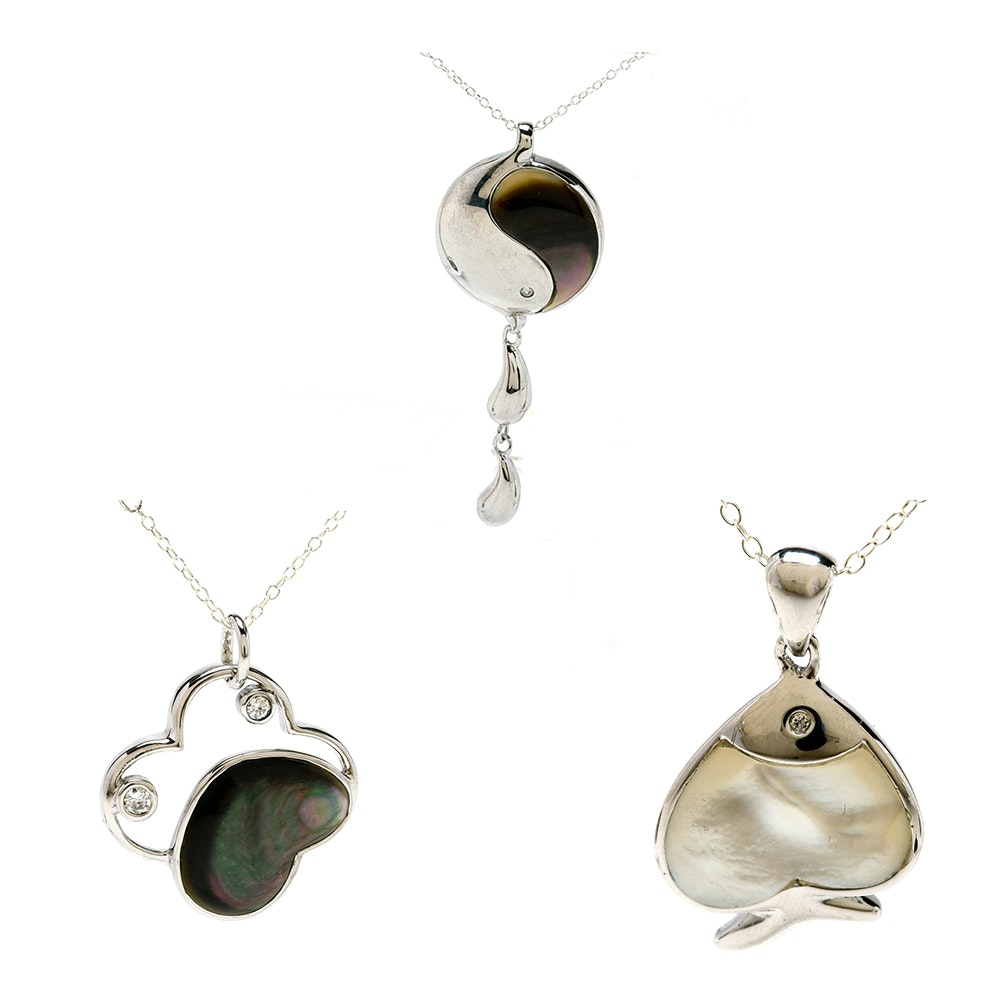 Three Sterling Pendant Necklaces with Crystal Accents