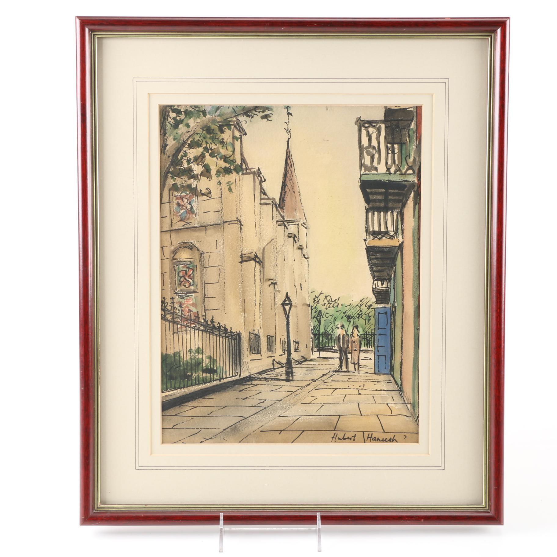 Hubert Hanush Signed Original Watercolor and Ink Drawing