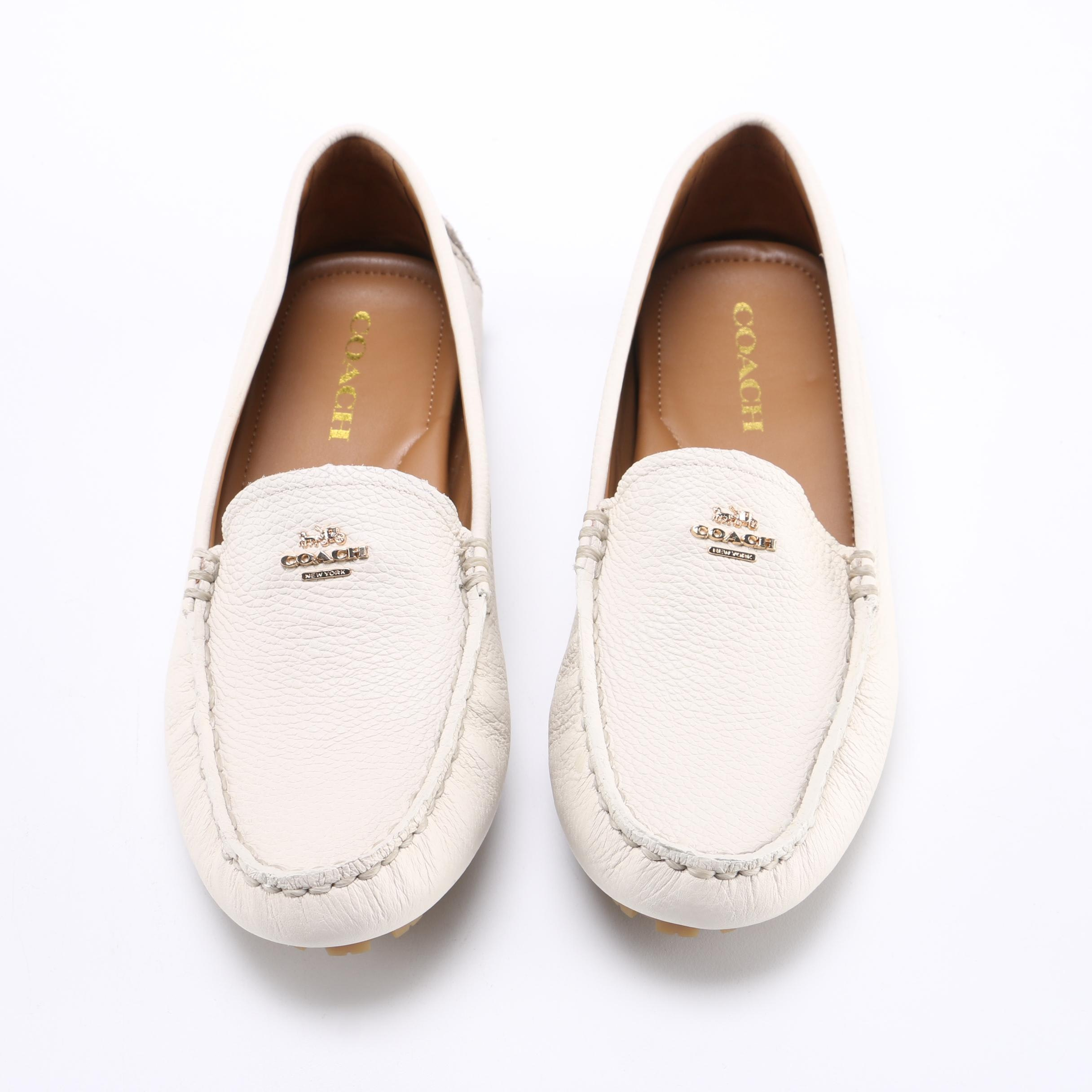 Coach White Pebbled Leather Driving Loafers