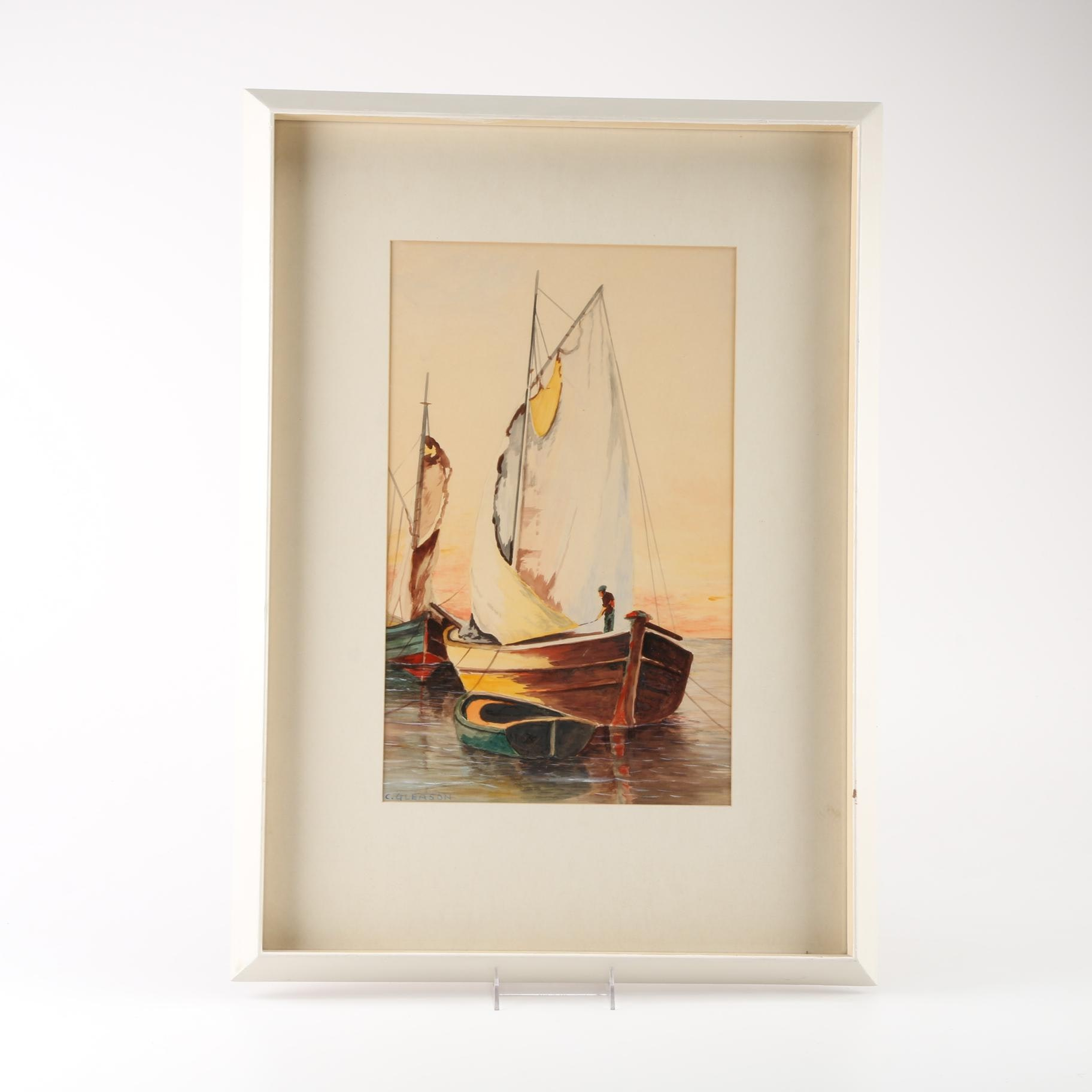 C. Gleason Watercolor on Paper Seascape