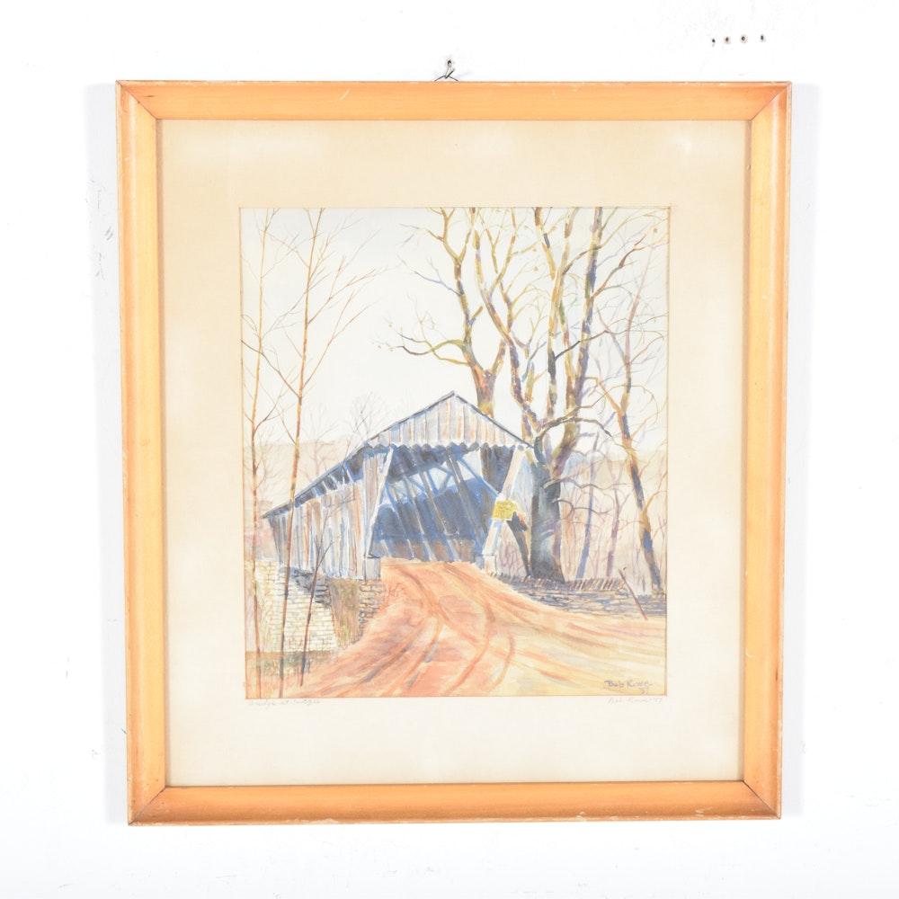 """Bob Rowe Watercolor on Paper """"Bridge at Switzer"""""""