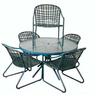 Brown jordan elegance patio dining set ebth for Brown jordan lawn furniture