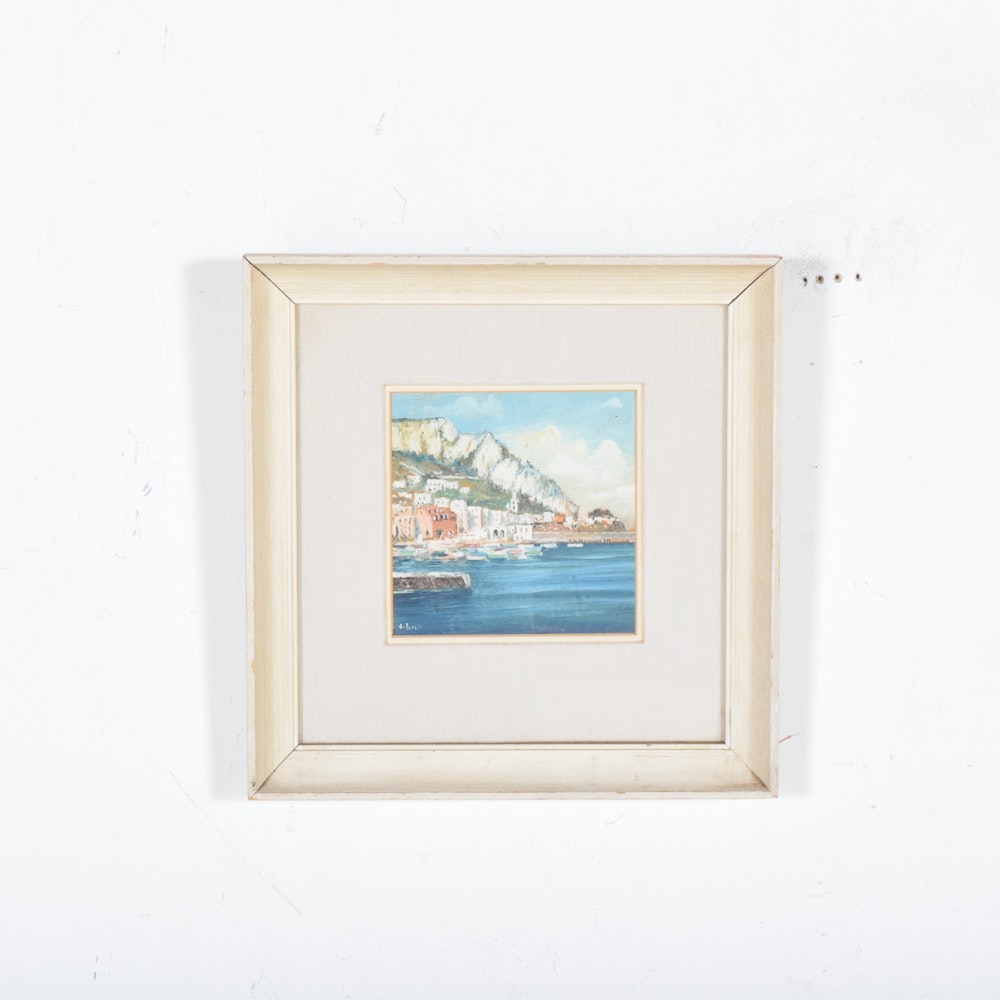 OIl Painting Coastal Town