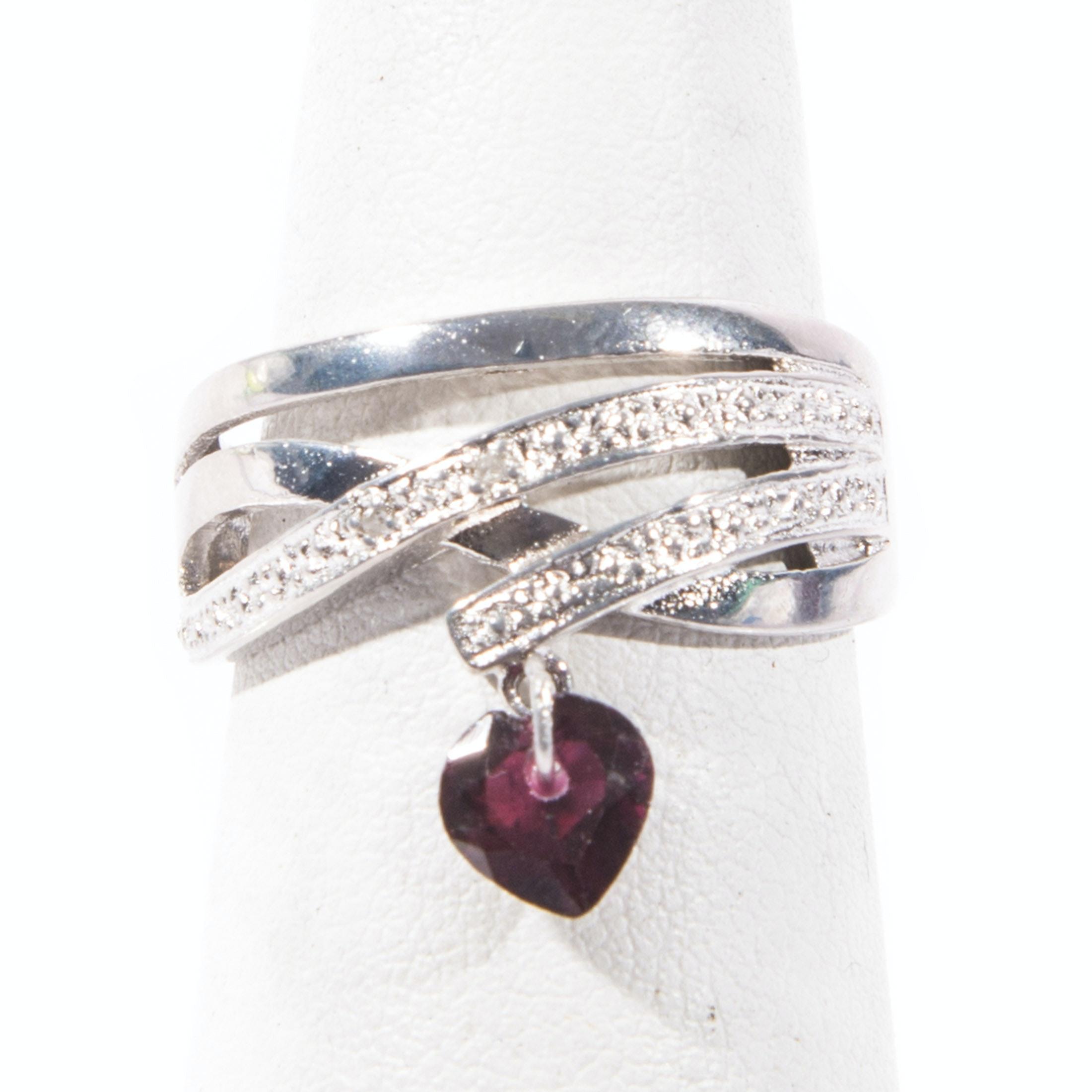 Sterling Silver Diamond and Garnet Ring