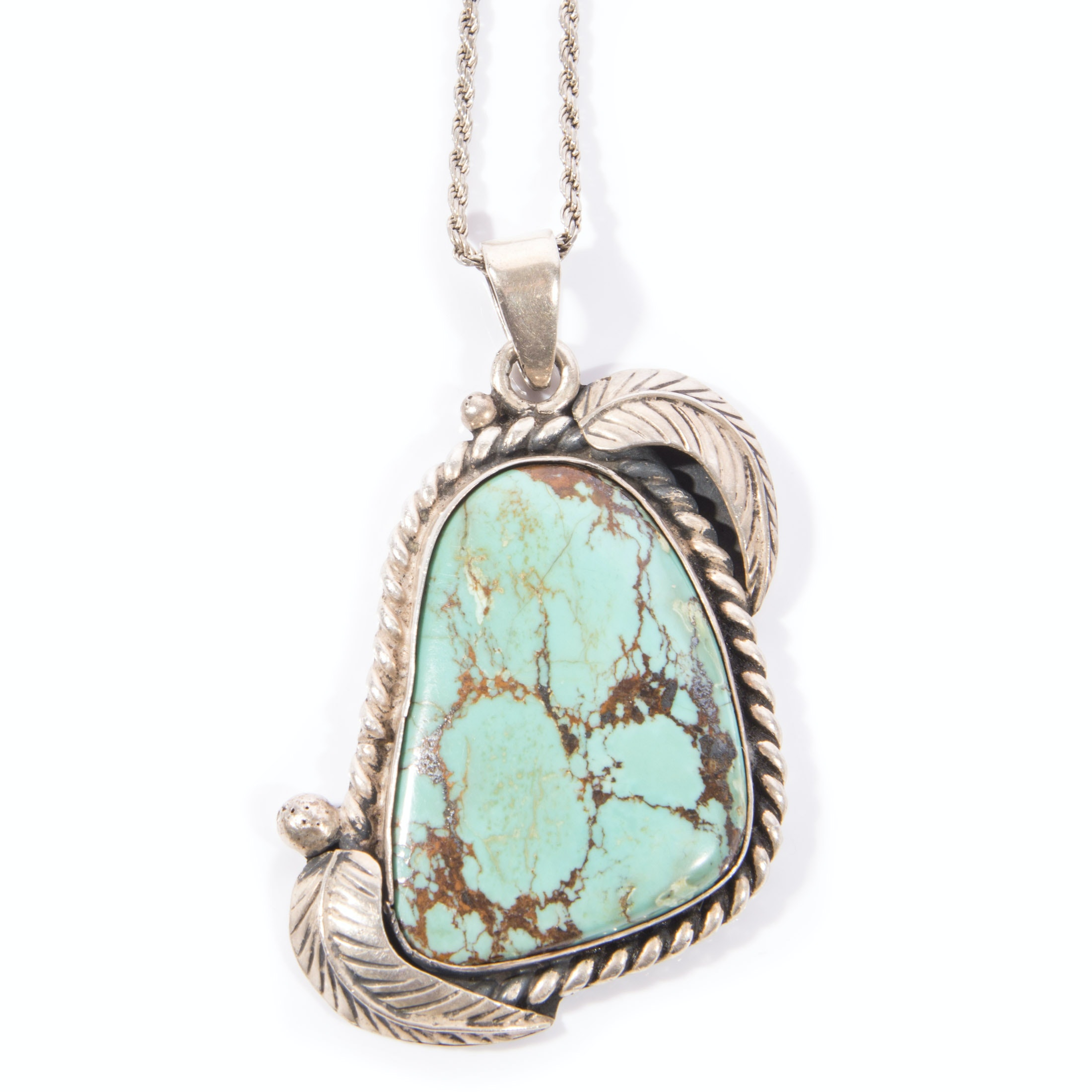 Native American Style Sterling Silver Turquoise Pendant