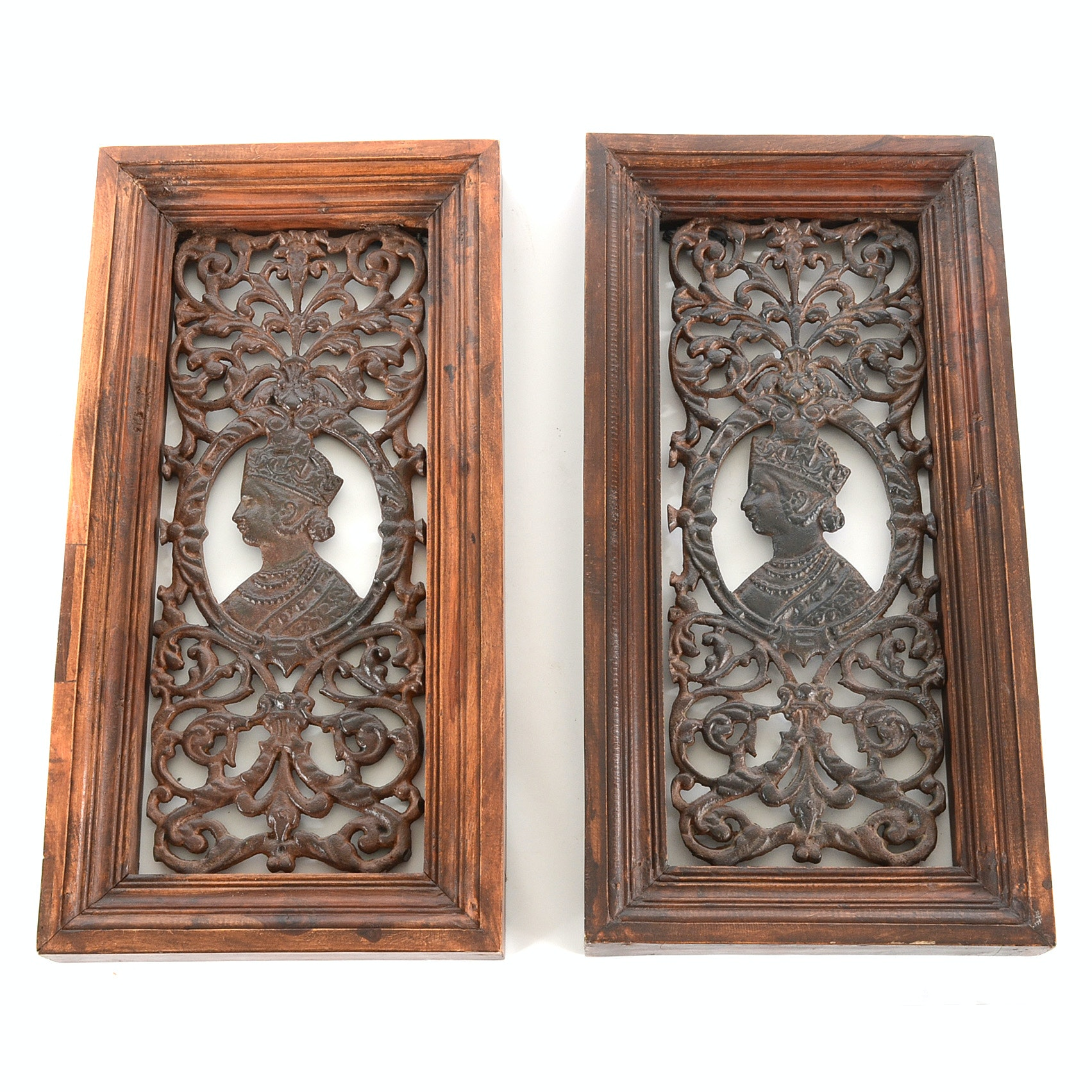 Pair of Cast Iron Balinese Framed Grill Panels