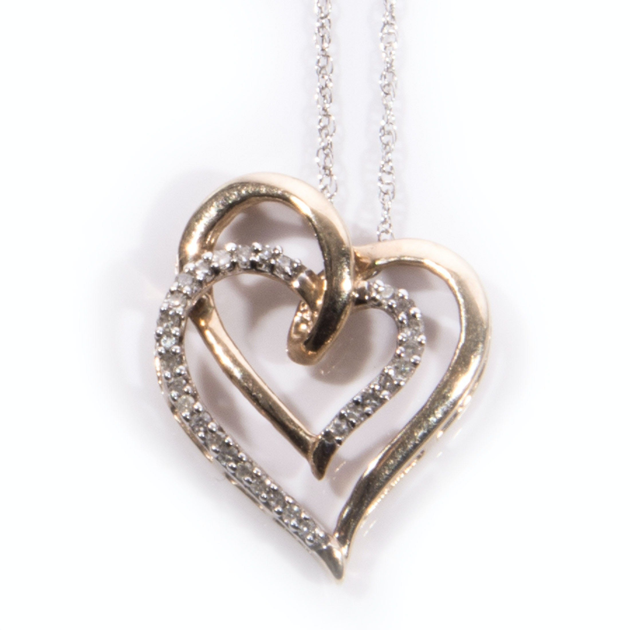10K Gold Two-tone Double Diamond Heart Necklace