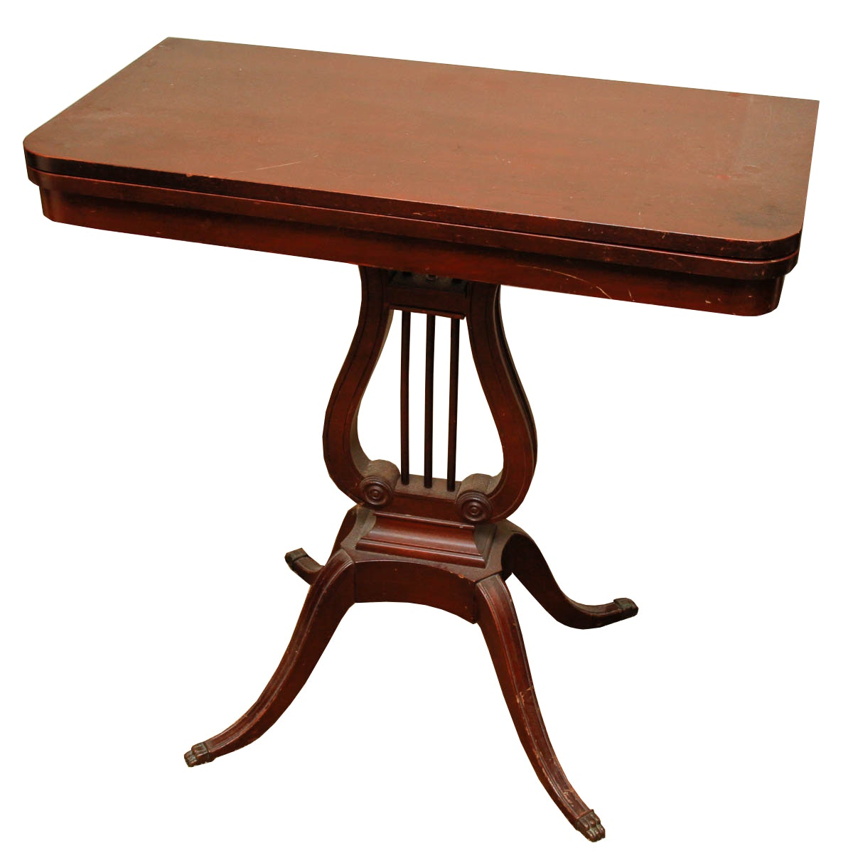 Flip Top Table With Lyre Harp Base