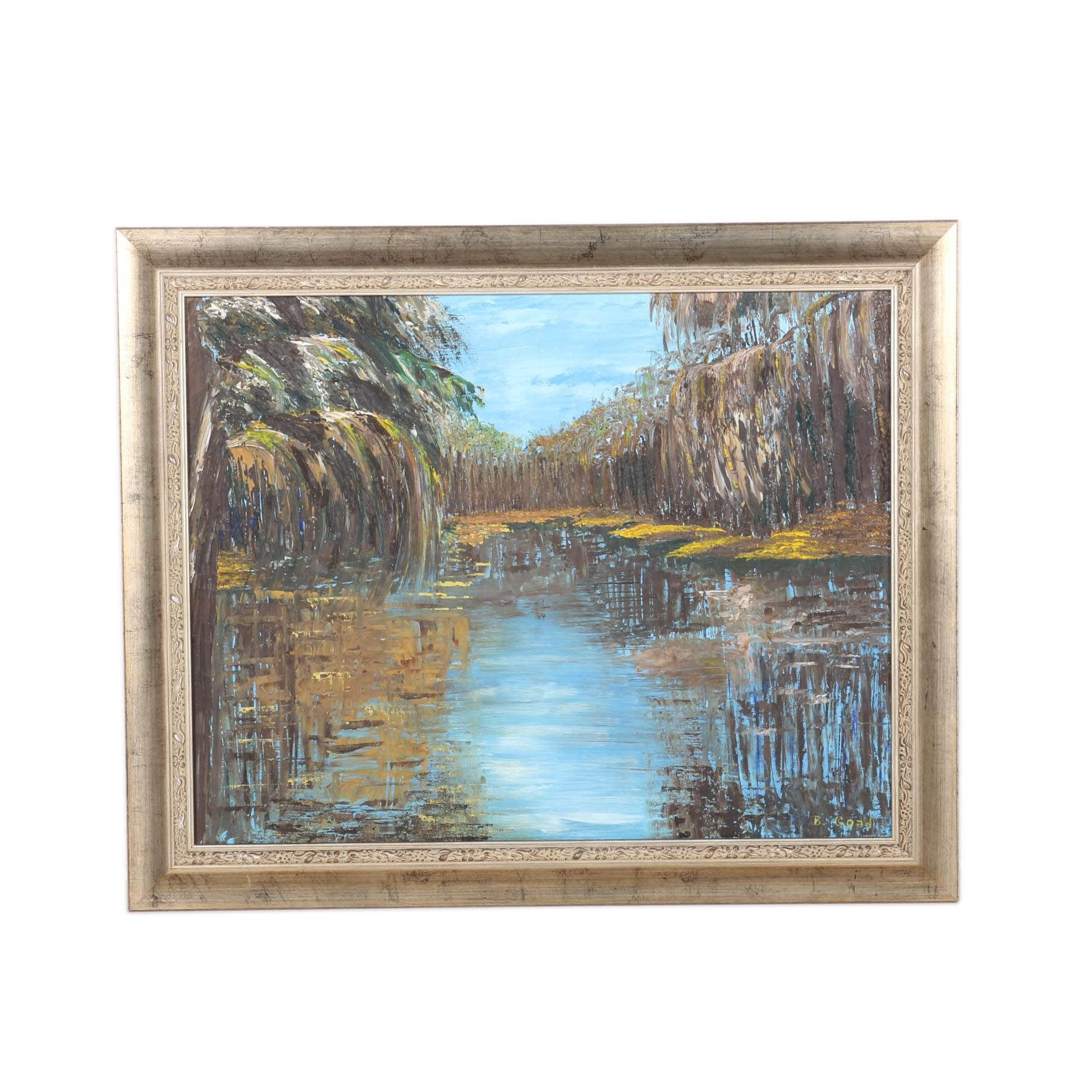 B. Goad Oil on Canvas of a Marshy Reflective Pool