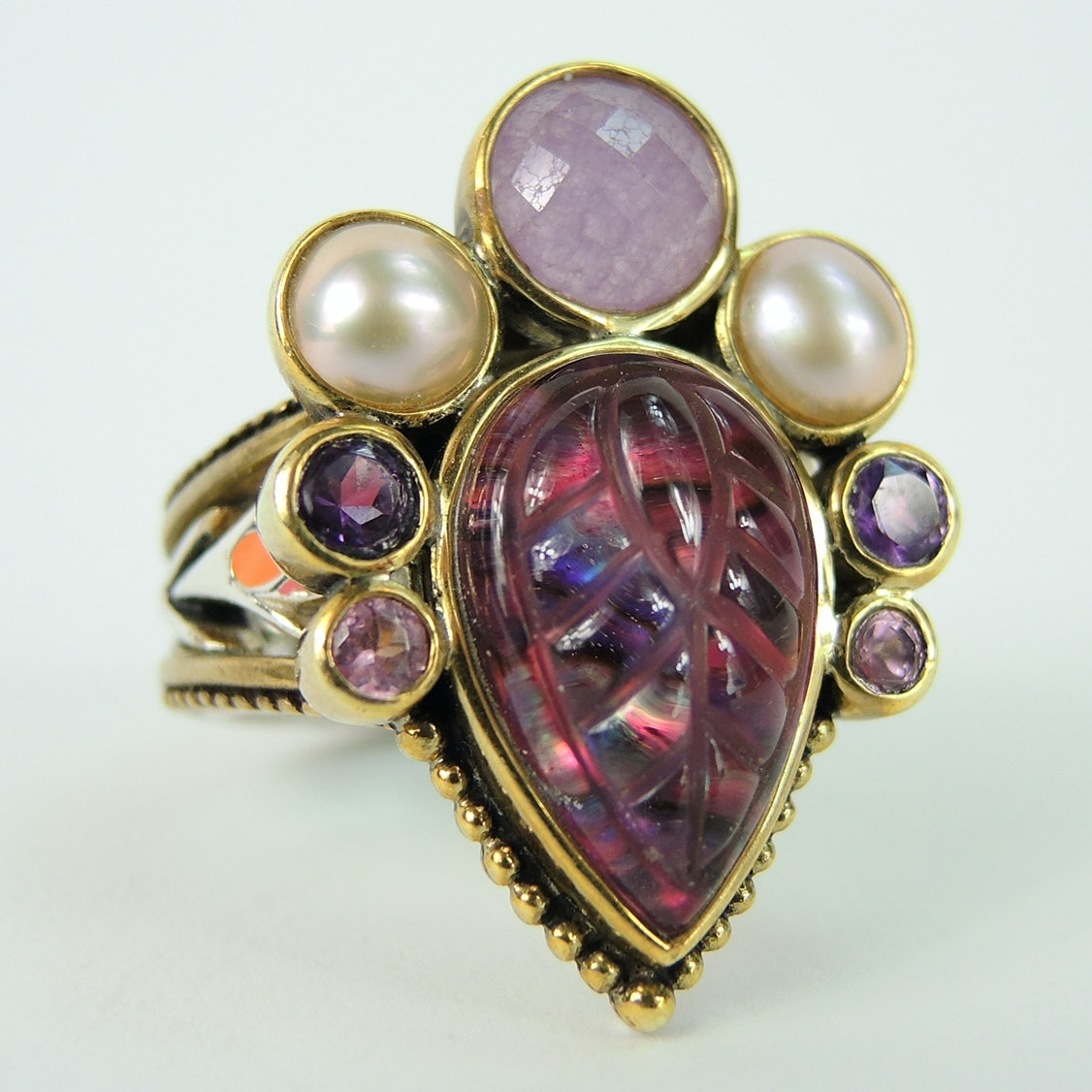 Purple Gemstone Ring with Sterling and Bronze Band