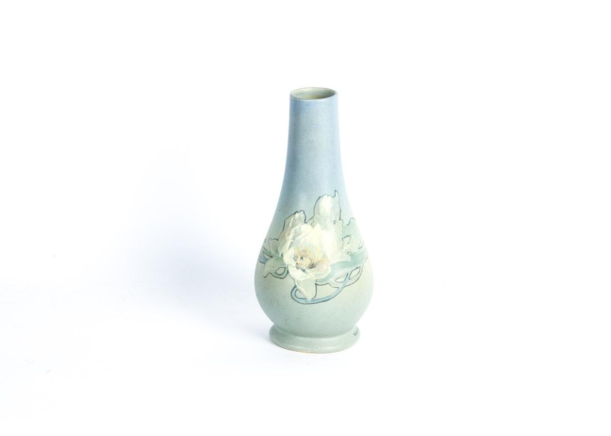 Weller Blue & Green Floral Vase