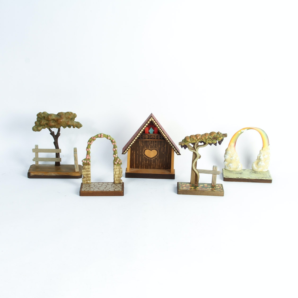 Collection of Wooden Carved Stands by ANRI