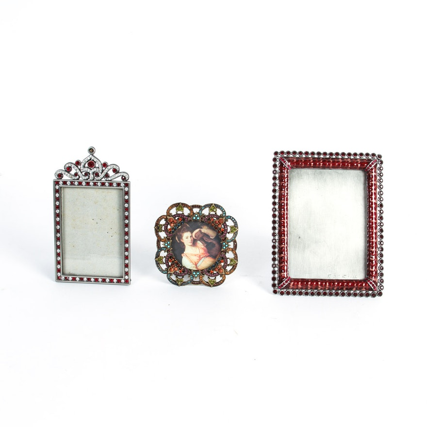Three Rhinestone Embellished Picture Frames : EBTH