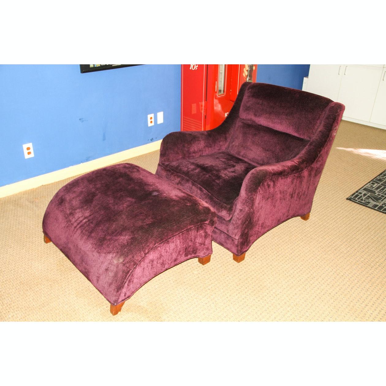 Purple Velvet Armchair and Ottoman