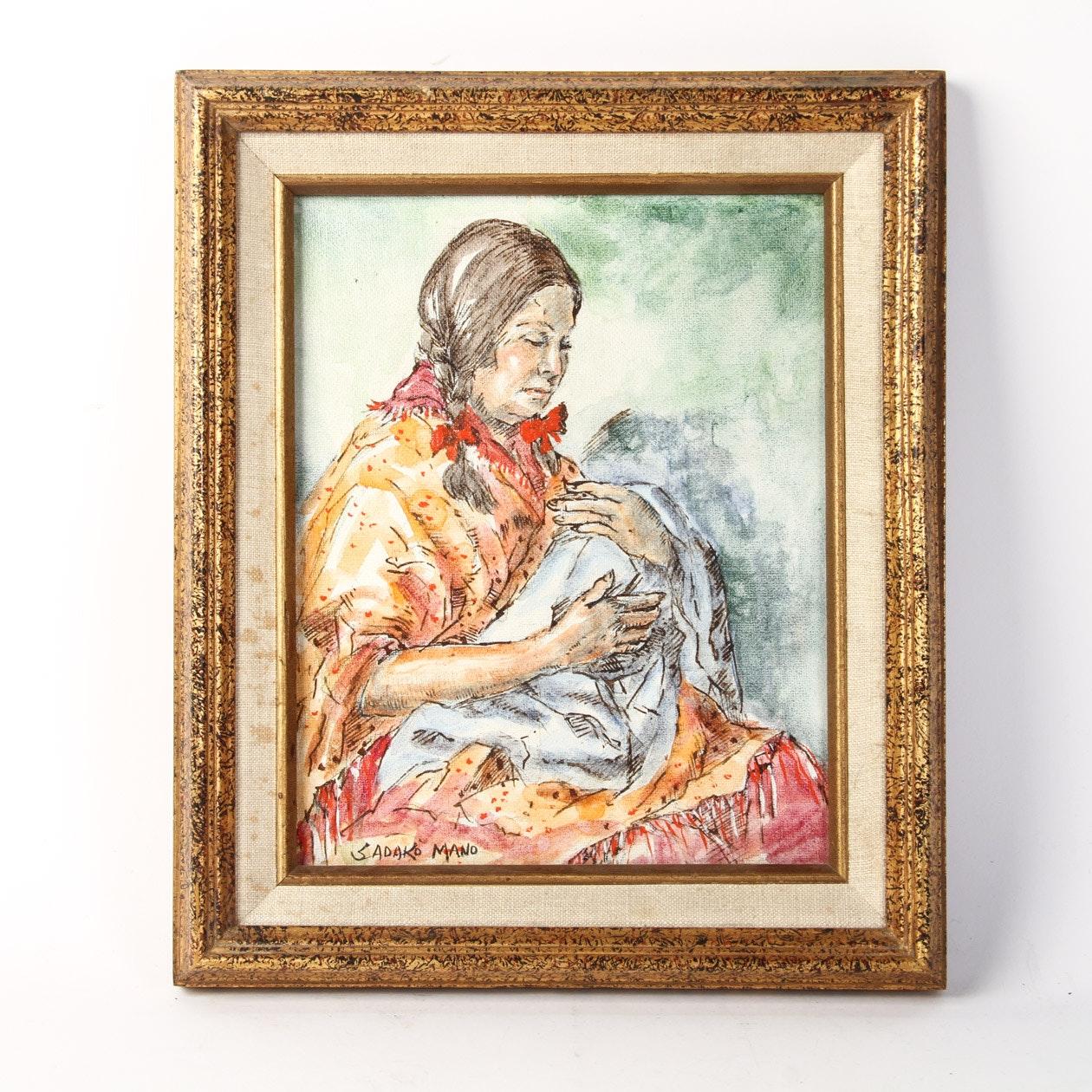 Mixed Media on Canvas Signed Art Piece by Sadako Mano