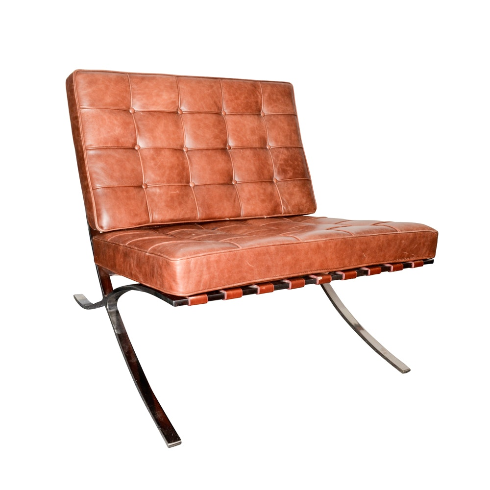 """Barcelona"" Style Leather Chair, After Mies Van Der Rohe"