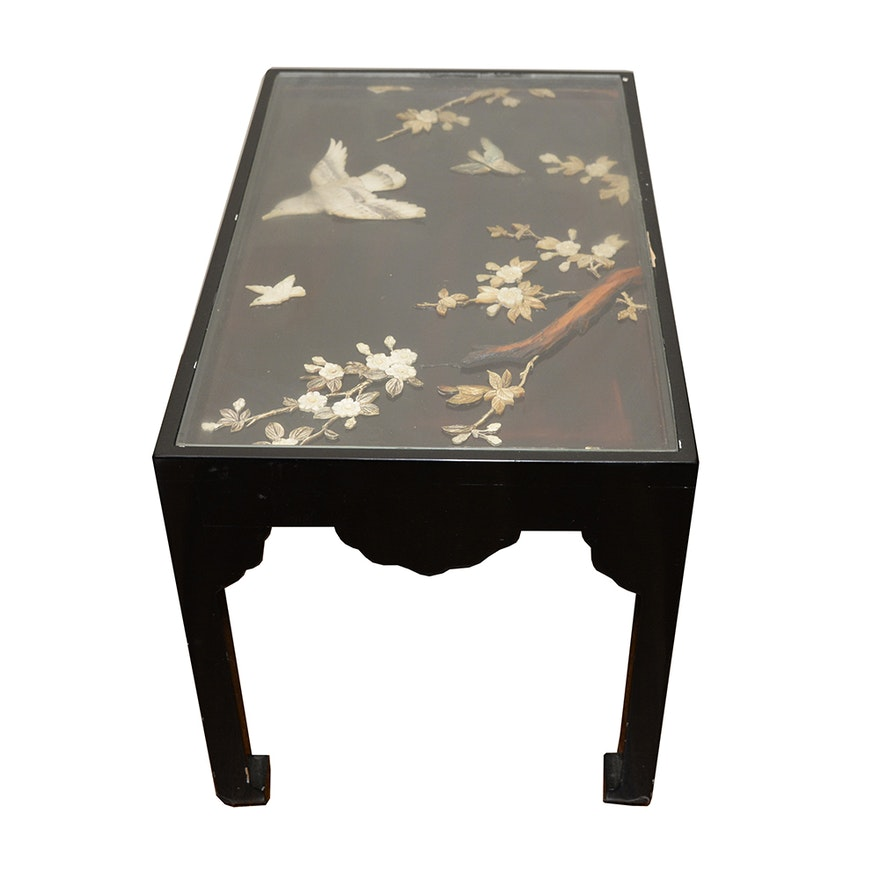 Chinoiserie Glass Top Shadow Box Side Table With Applied Design EBTH - Shadow box side table