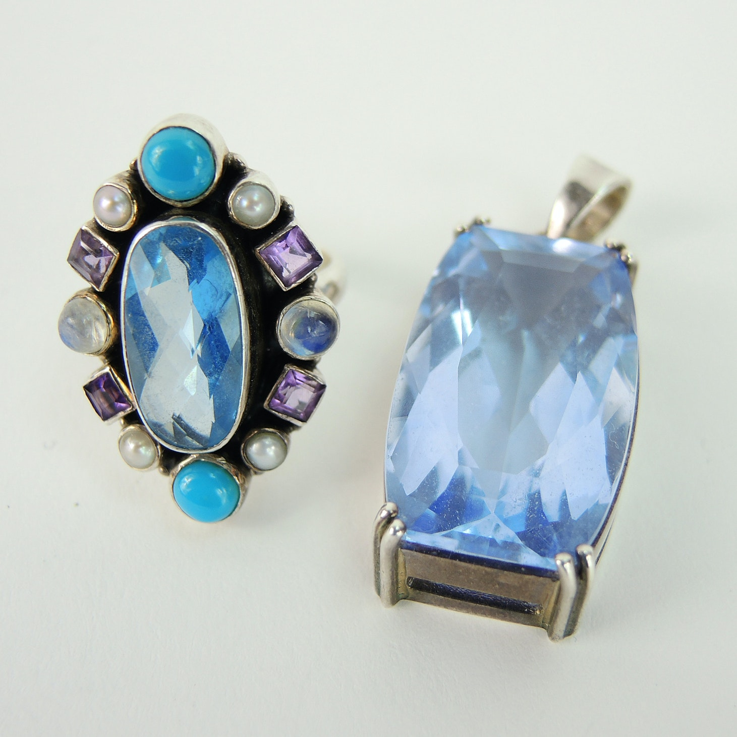 Nicky Butler Sterling Silver Multi-Gemstone Ring and Blue Pendant
