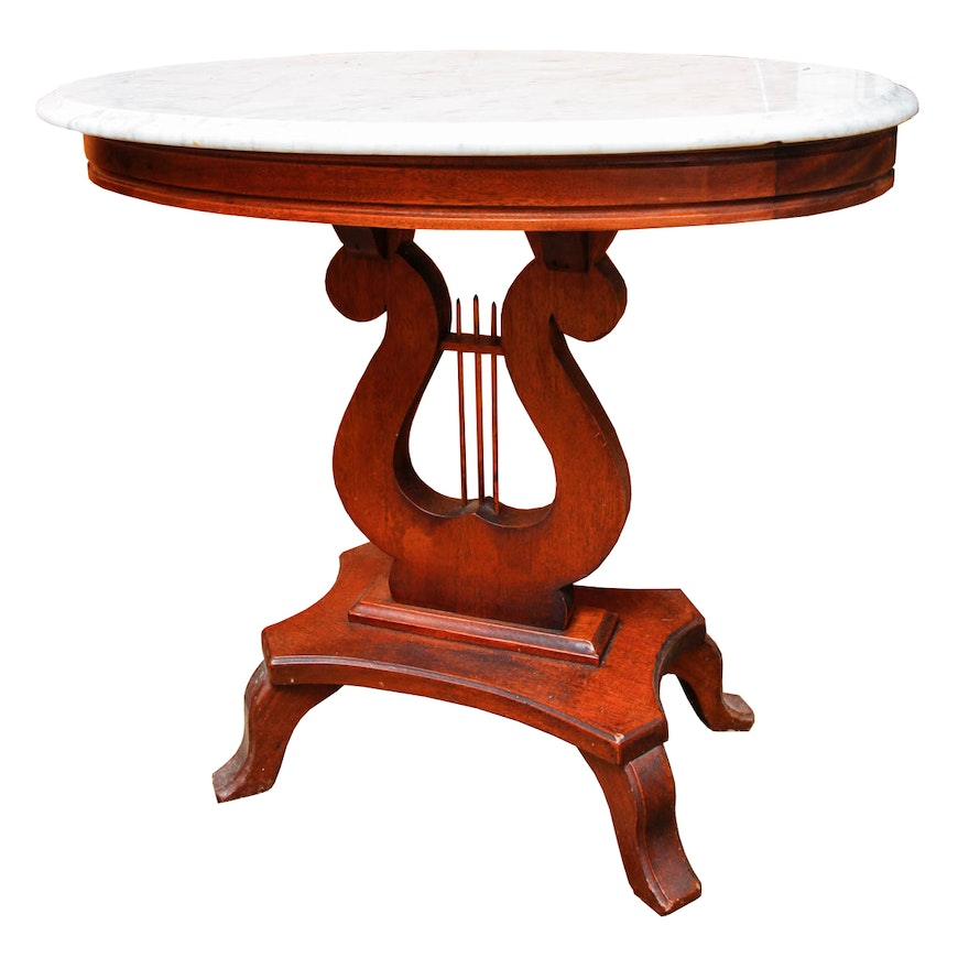 Marble Top Lyre Coffee Table: Vintage Lyre Marble Top Side Table
