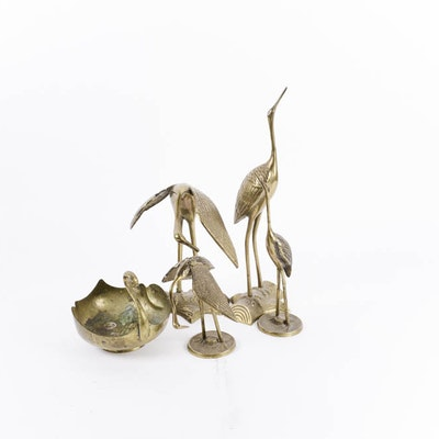 Vintage Mid Century Brass Bird Decor