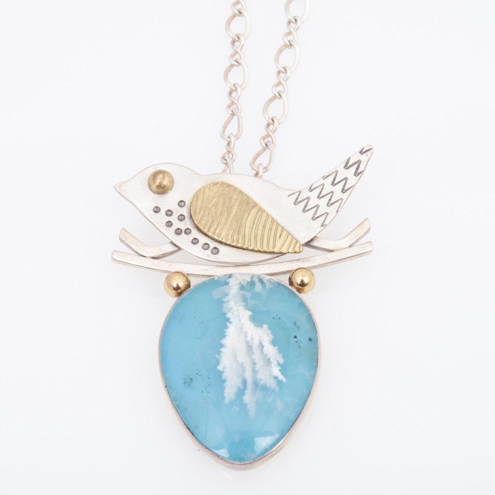 Designer Sterling Silver Gemstone Bird Necklace by Close