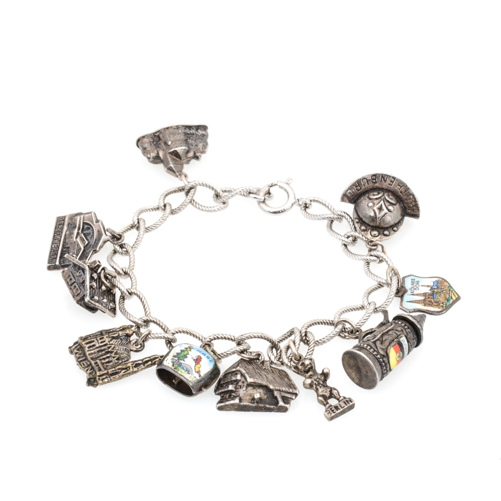 Sterling and 800 Silver Destination Themed Charm Bracelet