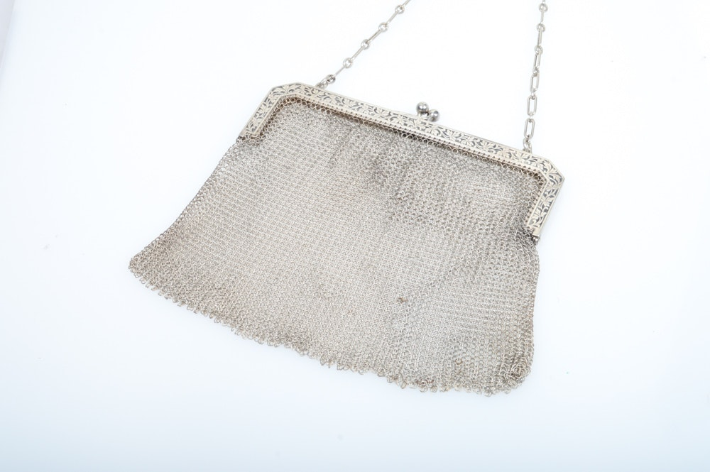 Antique 800 Silver Mesh Clutch