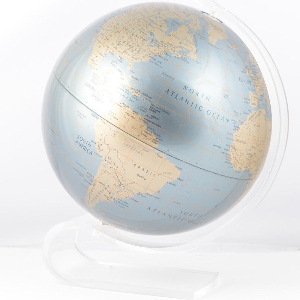 Repogle Diamond Marquise Series World Globe on Lucite Stand