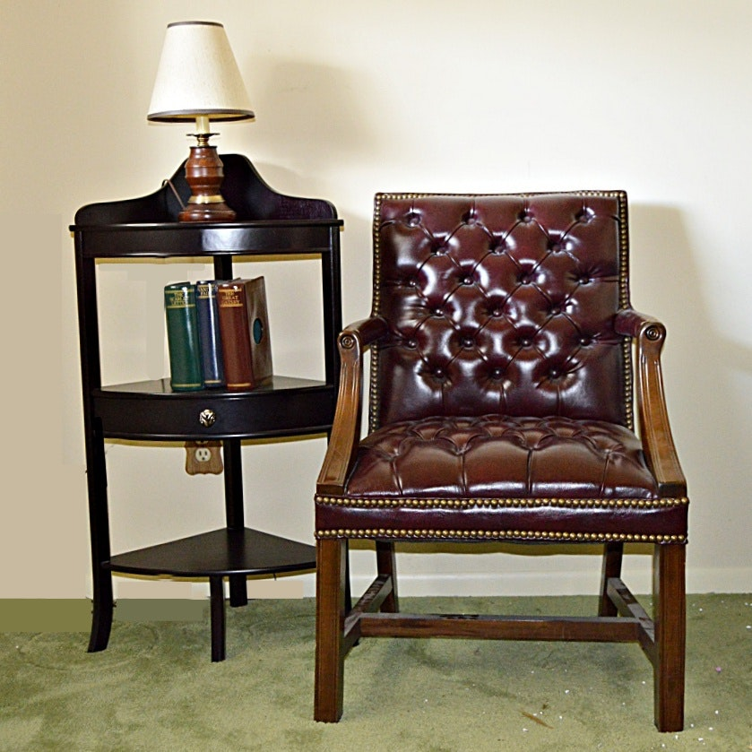Traditional Button-Tufted Armchair, Corner Shelf and Lamp