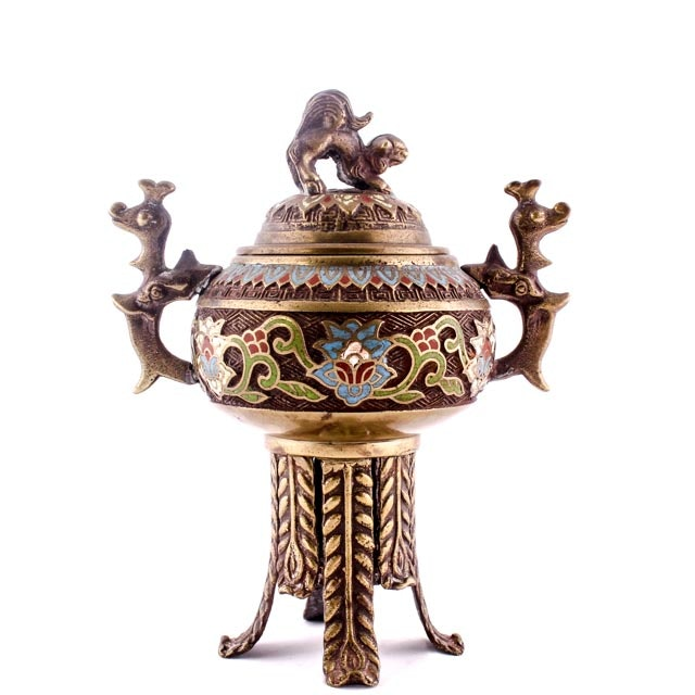 20th Century Chinese Bronze and Cloisonné Incense Holder