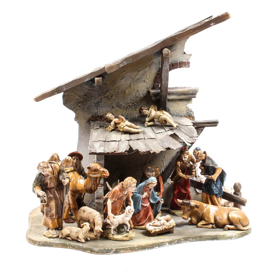 Vintage Carved Painted Wood Nativity