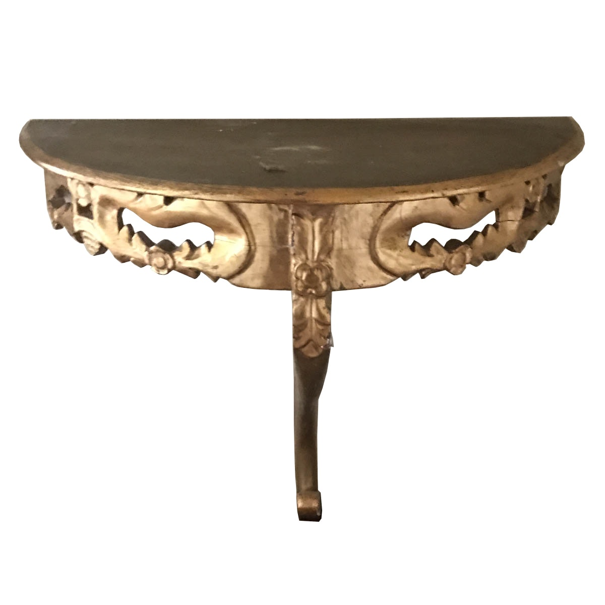Rococo Style Single Leg Demilune Console Table ...