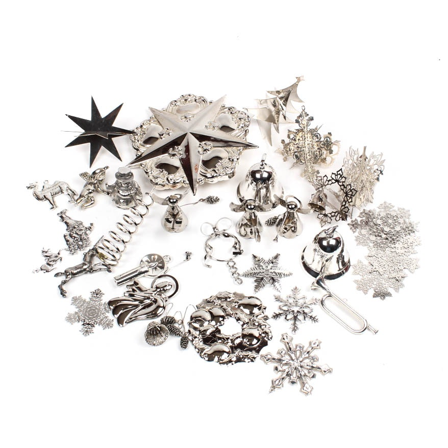 Silver Plate and Pewter Christmas Ornaments