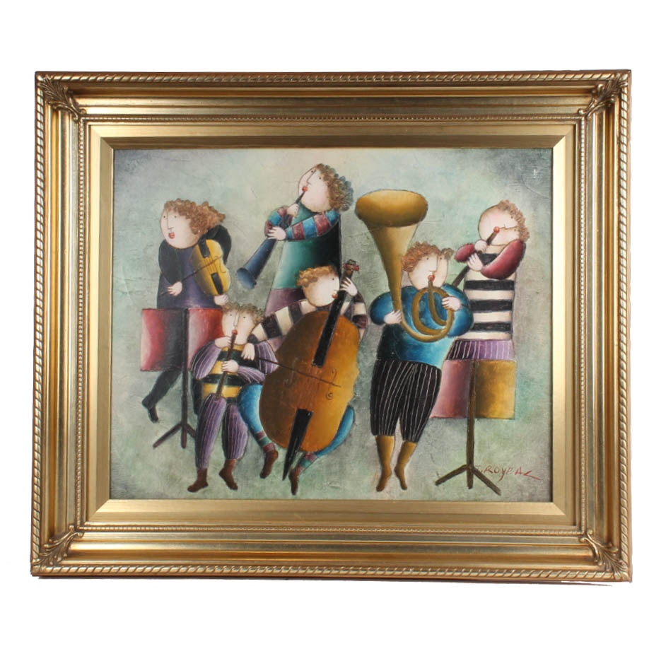 "J. Roybal Original Oil on Canvas ""The Sextet"""