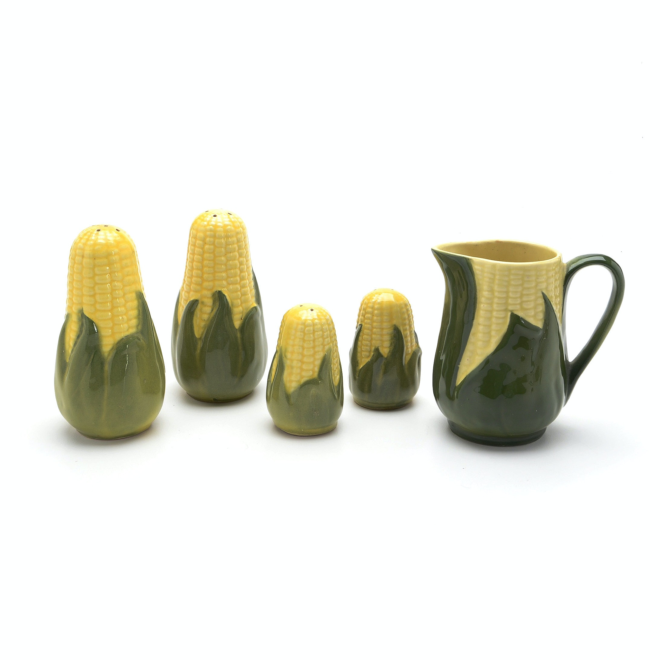 """Shawnee Pottery """"Corn King"""" Shakers and Creamer"""