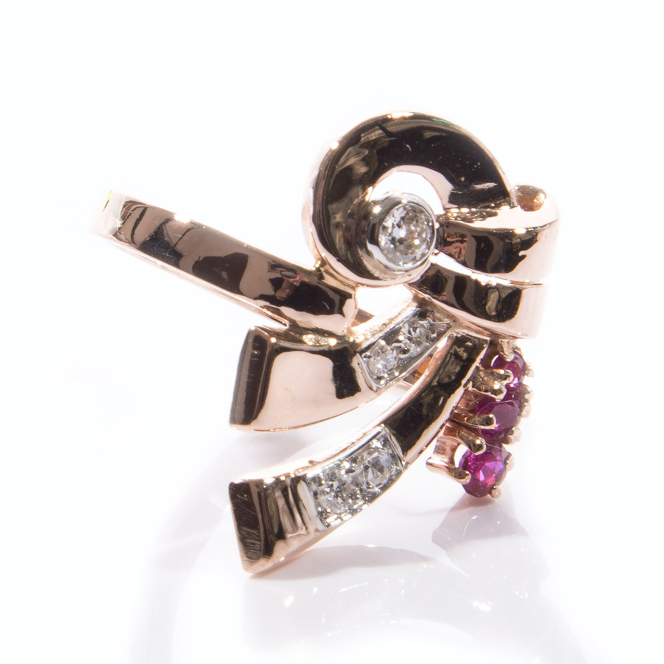 14K Rose Gold Retro Ruby and Diamond Ring