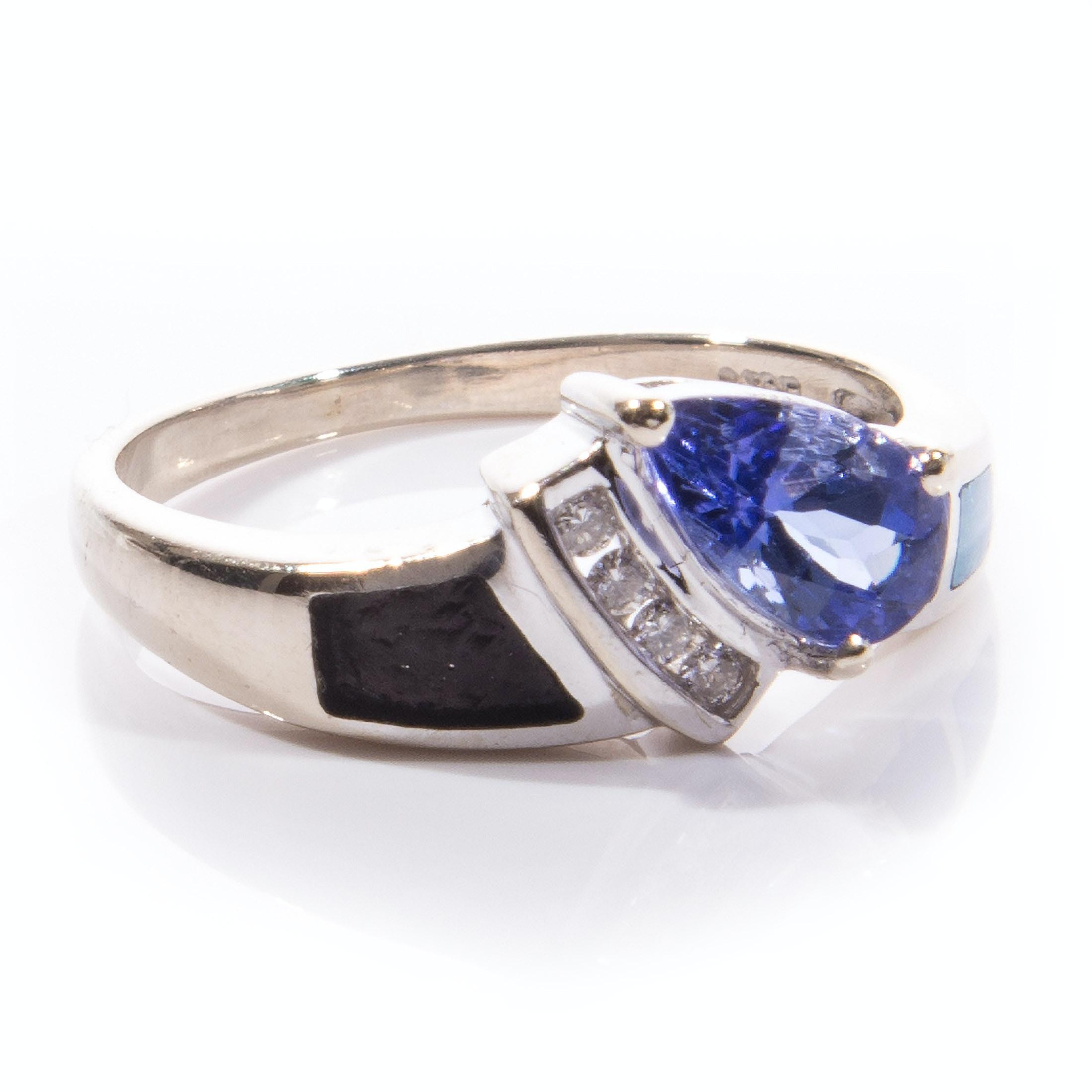 14K Gold Tanzanite, Diamond and Opal Ring