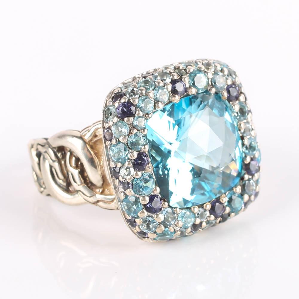 "John Hardy Silver ""Batu"" Ring with Blue Topaz, Aquamarine, Light Iolite and Swiss Blue Topaz"