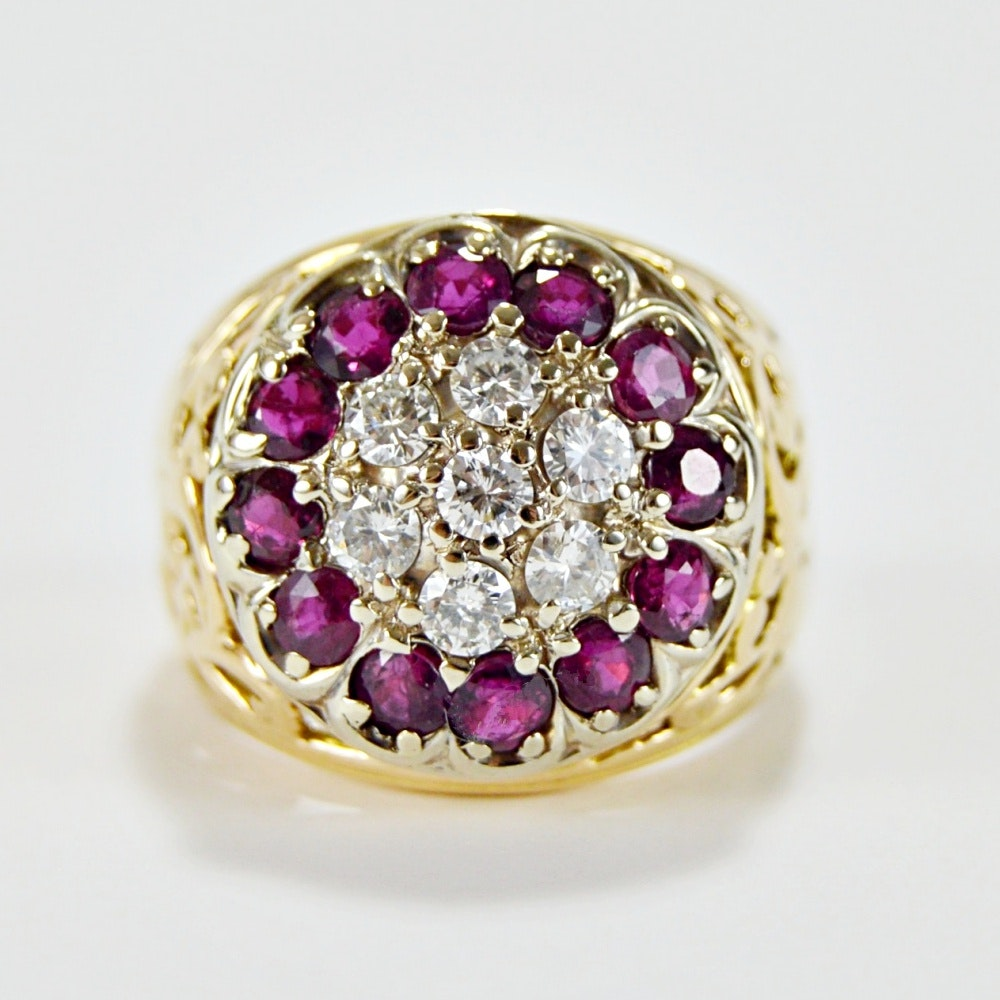 14K Yellow Gold, Ruby and Diamond Cluster Ring