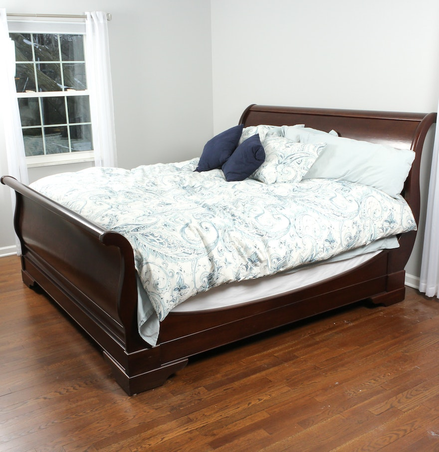 Restoration Hardware Marston Cherry King Sleigh Bed By
