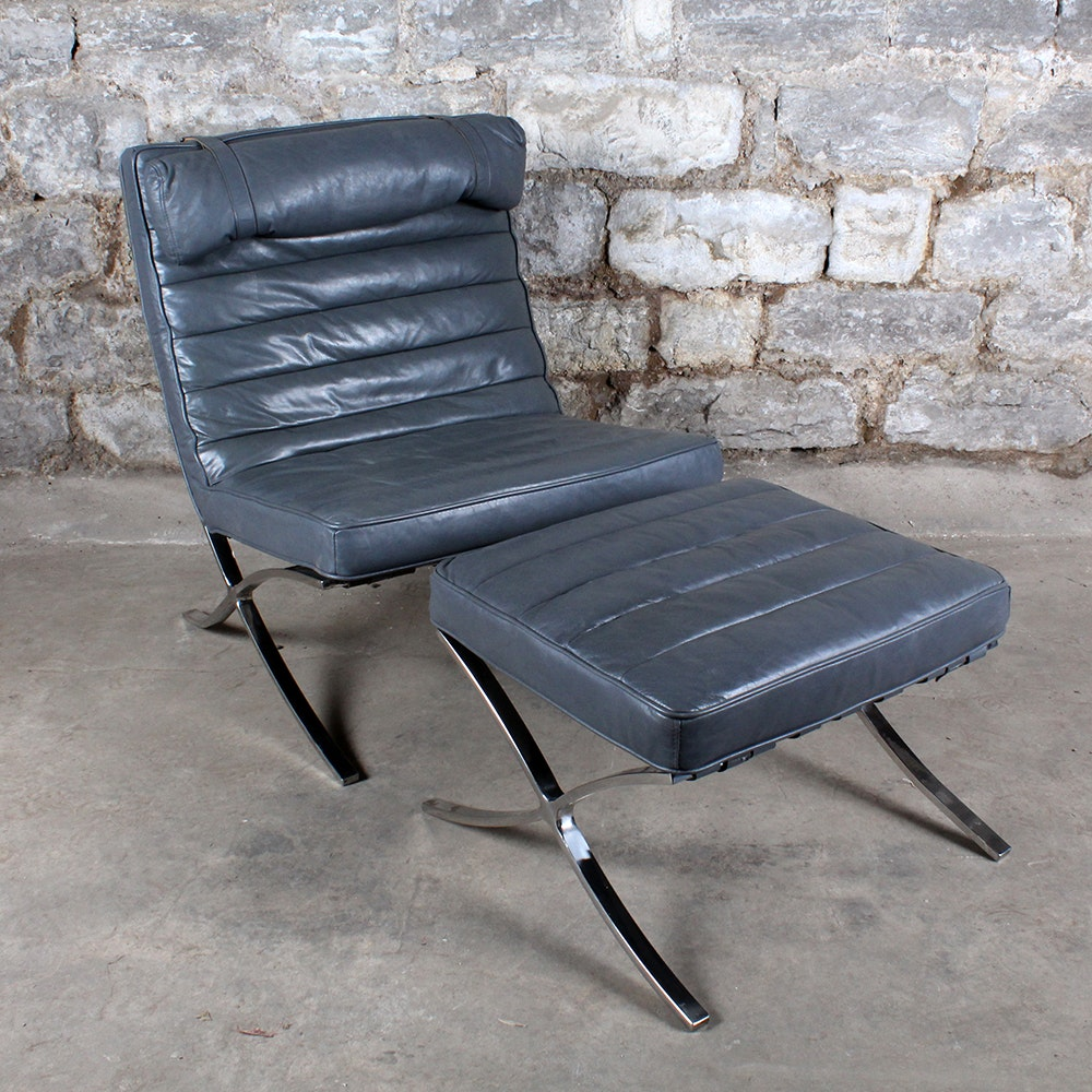 Leather Barcelona Style Chair with Ottoman