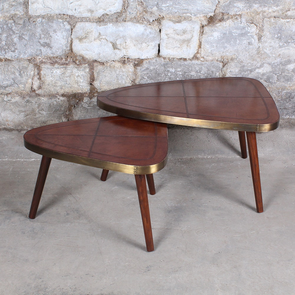 Leather Topped Modern Guitar Pick Triad Tables