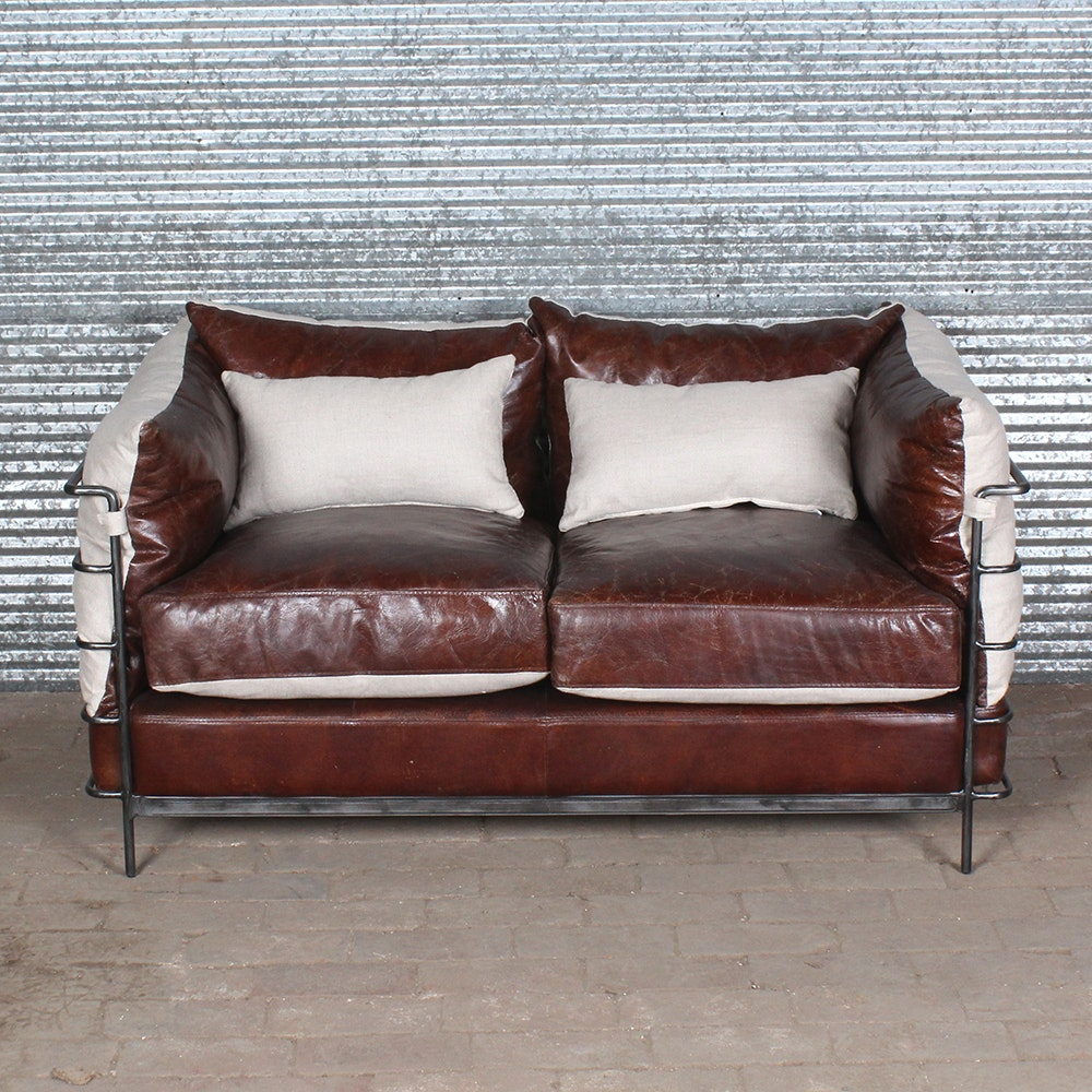 Contemporary Style Loveseat with Leather Cushions