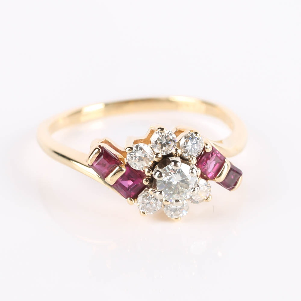 14K Gold Moissanite, Ruby and Diamond Bypass Ring