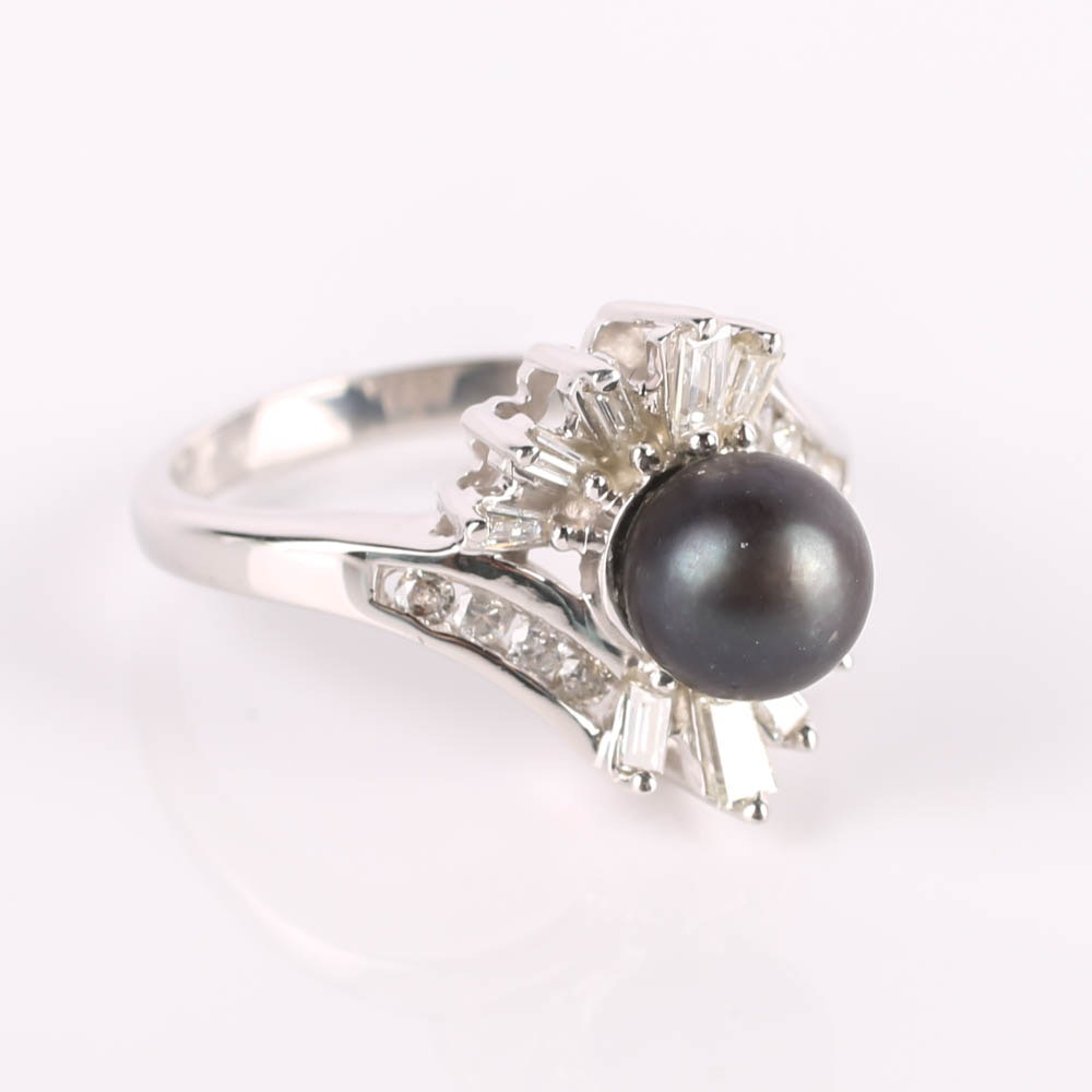14K Gold Black Pearl Baguette and Round Diamond Bypass Ring